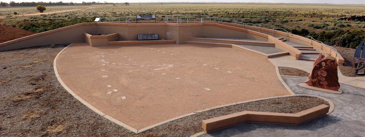 View of the Meeting Place showing the recreation of a section of the human fossil trackways