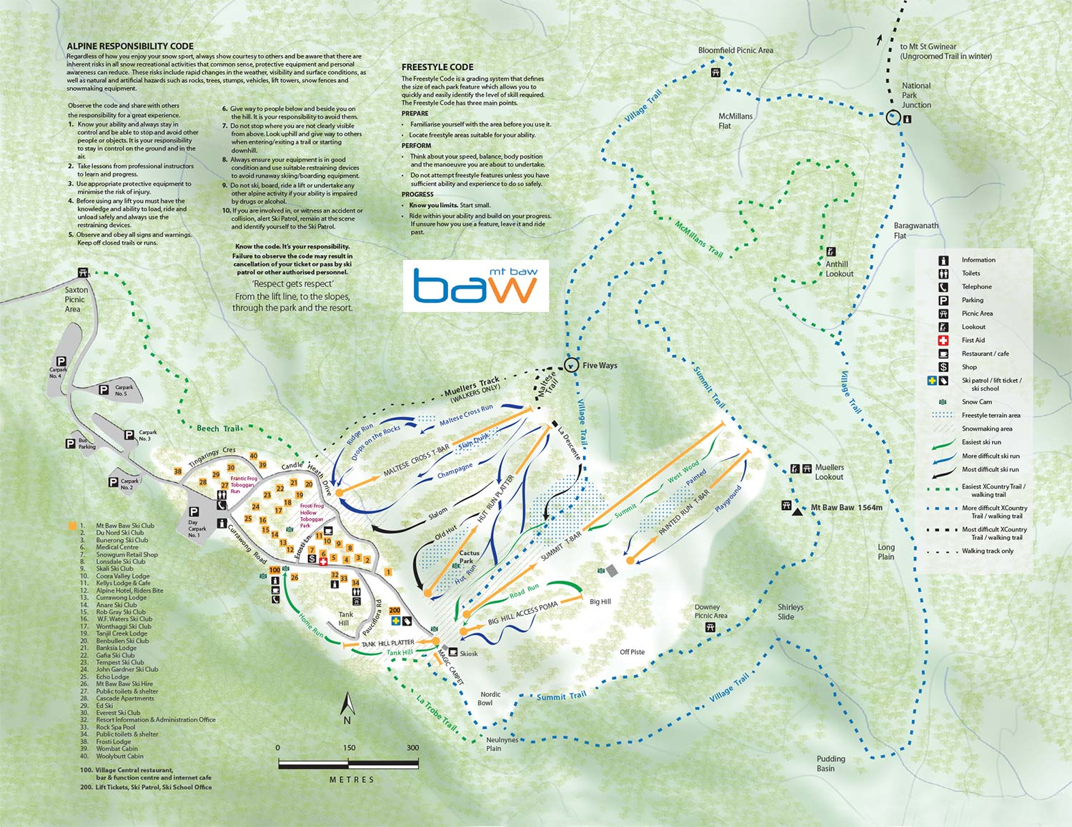BAw BAw Alpine Resort Map