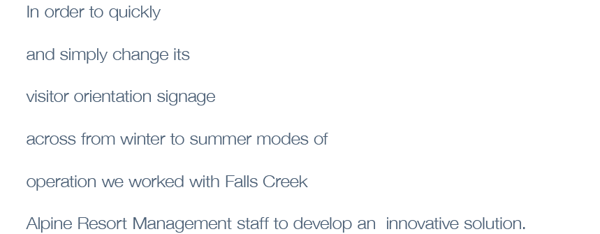 In order to quickly and simply change its visitor orientation signage across from winter to summer modes of operation we worked with Falls Creek Alpine Resort Management staff to develop an innovative solution.