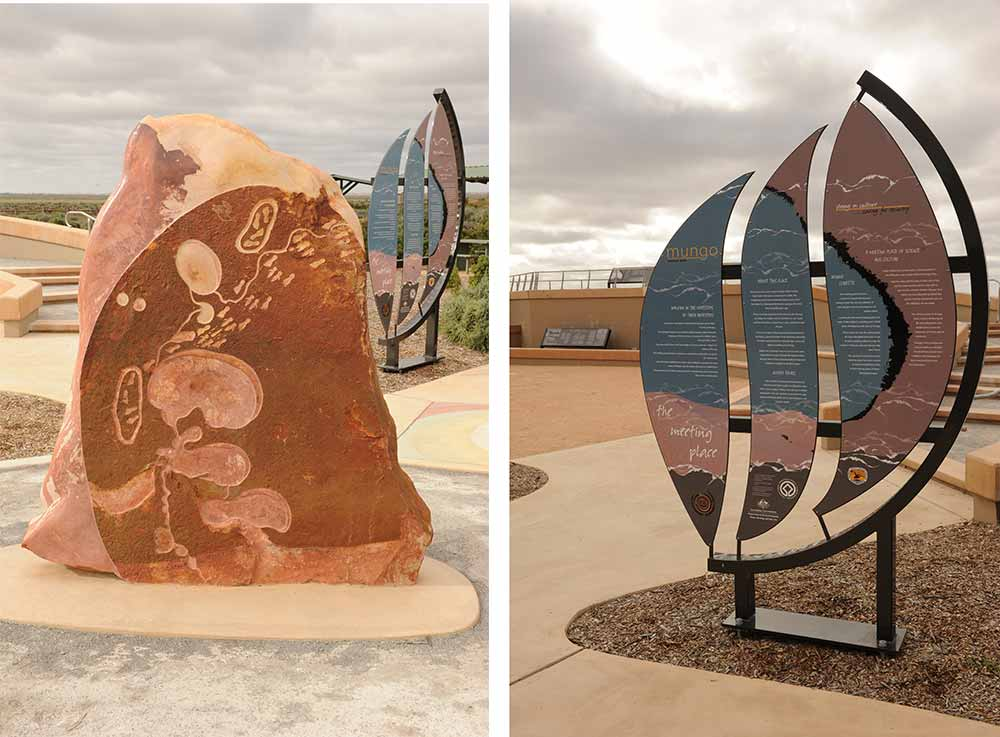 Interpretive signage and cultural installations in place at the Mungo Meeting Place