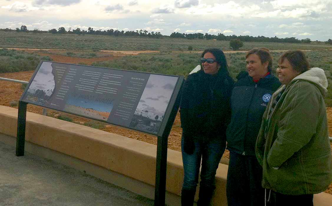 interpretive signage in place at the Mungo Meeting Place
